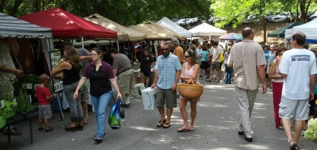 Shoppers at a farmers market