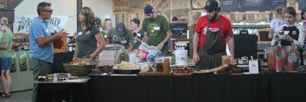 Vendors serving dishes