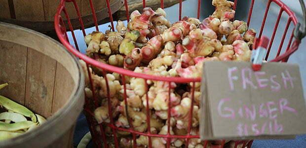 Ginger for sale at Asheville City Market