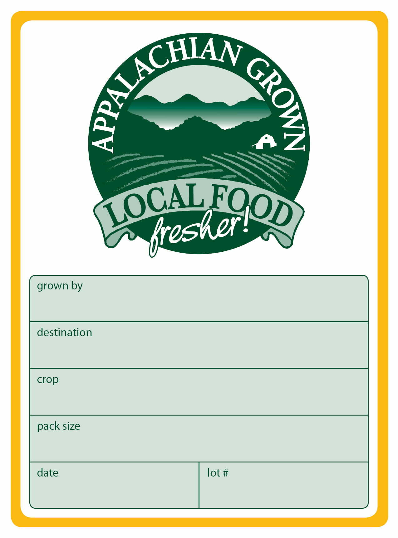 Appalachian Grown Box Label